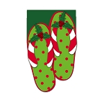 Holly Jolly Flip Flops Garden Flag