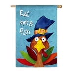 Eat More Fish Garden Flag