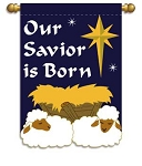 Our Savior Is Born Garden Flag