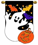 Ghost with Pumpkins Garden Flag