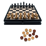 French Staunton Chess & Checkers Set with Storage