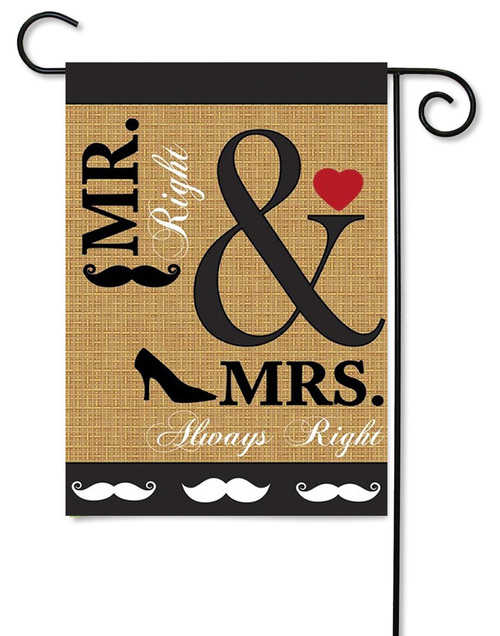 Mr And Mrs Right Wedding Flag