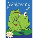 Welcome Frogs Garden Flag