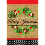Burlap Christmas Wreath House Flag