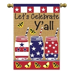 Let's Celebrate Y'all Burlap House Flag