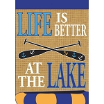 Life Is Better At The Lake Burlap Garden Flag