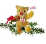 STEIFF JOINTED TEDDY BEAR ORNAMENT WITH BELL