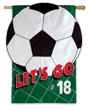 Let's Go Soccer House Flag