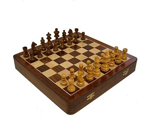 Deluxe English Camphor Chess Set with Storage