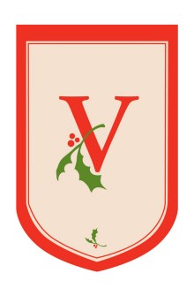 Holiday Monogram V Garden Flag