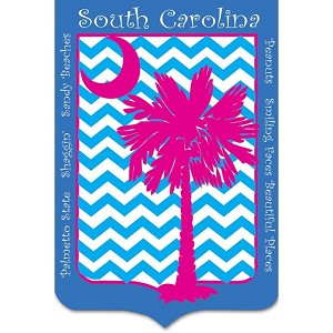 Chevron Palmetto Tree House Flag