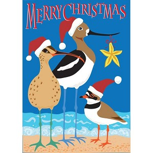 Christmas Shorebirds House Flag
