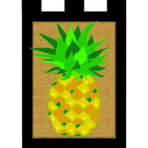 Burlap Pineapple House Flag