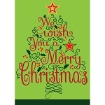 We Wish You A Merry Christmas Burlap House Flag