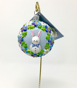 Breen Blue Bunny Boy Easter Medallion Ornament