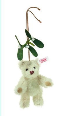 STEIFF MOHAIR TEDDY BEAR ORNAMENT WITH MISTLETOE